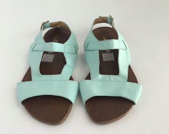 Brazilian Leather Ankle Strap Sandals for Women in Minty Blue