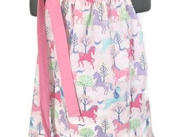 Pillowcase Dress - Horse Dress - Baby Pillowcase Dress - Pink Horse Dress - Toddler Pillowcase Dress - Infant Pillowcase Dress - Pink Dress