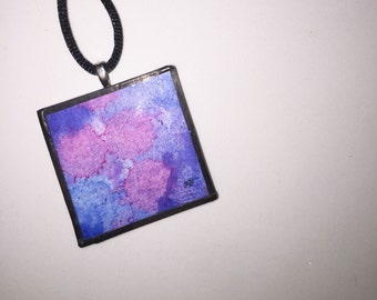 Pink & Blue Watercolor Glass Pendant