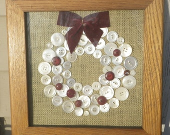 Framed Burlap Button Wreath