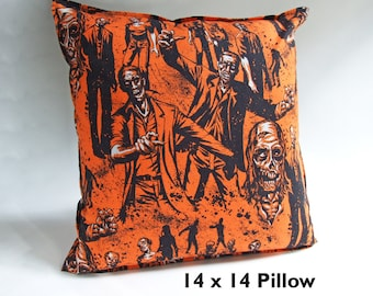 ZOMBIES Pillow Cover 14, Zombie Decor, College Bedding, Zombie Bedding, Zombie Pillow, Zombie Apocalypse, Zombie Lover Gift, Zombie Party,