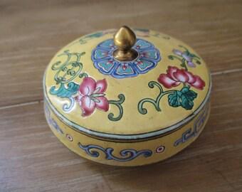 Canton Enamel Trinket Box ~ Lidded Round Box Hand Painted