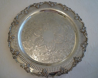 TRAY. Silverplate. Grapes And Leaves Design. Beautiful ENGLISH TRAY. Ornate Scalloped Edge with Openwork Rim. Elegant Serving Tray.