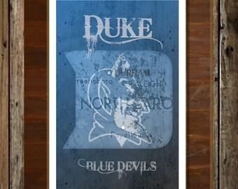 Duke Blue Devils Map Topographical Sports Print Art 11x17
