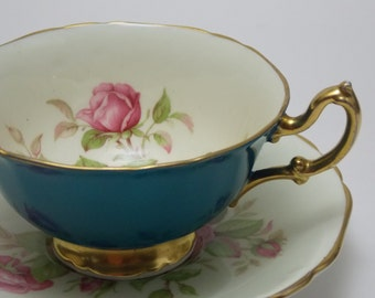 Adderley Blue Pink Rose Vintage Fine Bone China Tea Cup and Saucer Made in England