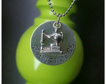 Seamstress & Quilters Stamped Necklace