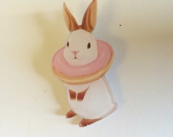 Sweet deco donut fluffy bunny rabbit kawaii harajuku brooch pin
