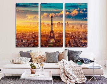 3 Panel  Canvas Split, City of Love,Sunrise in Paris, Eiffel Tower, Photo Print on Canvas,Triptych  Canvas,Interior design,Room Decoration,