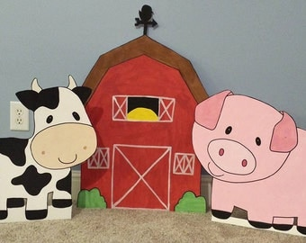 ONE 2ft  Farm Barnyard animal cutouts Birthday Party Decoration; Sheep, Horse, Pig, Cow, Barn, Rooster