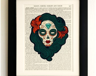 ART PRINT on old antique book page - Sugar Skull Goth Girl, Vintage Upcycled Wall Art Print, Encyclopaedia Dictionary Page, Fab Gift!