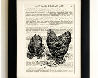 FRAMED ART PRINT on old antique book page - Chickens, Vintage Upcycled Wall Art Print Encyclopaedia Dictionary