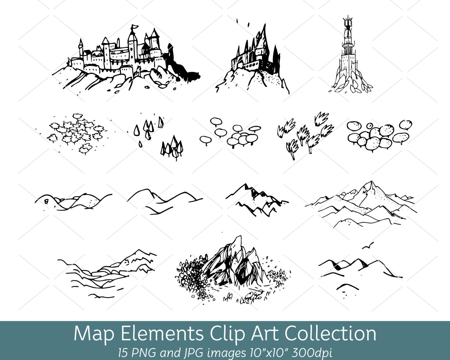 how to draw a mountain on a map