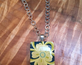 Cute Flower pendant on s scrabble tile.