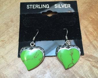 Sterling silver and green heart pierced earrings