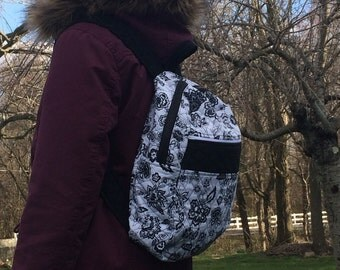 Quilted black and white floral backpack - 28 inch straps