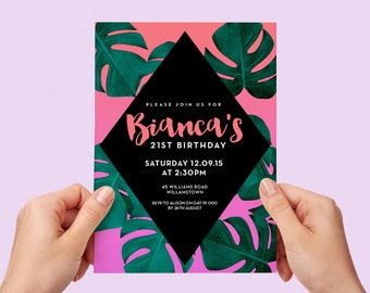 Tropical Birthday Invite Palm Leaves Monstera 18th 21st 30th 40th Party Printable Invitation Pink and Orange Personalised Custom