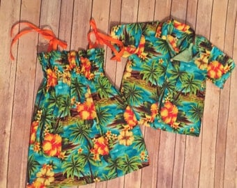 Boys Hawaiian Shirt, Luau Shirt, Child Hawaiian Button Down, Tropical Shirt, Kids Camp Shirt