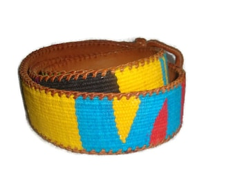 vintage GUATEMALA leather SOUTHWESTERN silvertone Whipstitch trim indie boho belt women size MEDIUM