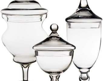 Apothecary Jar Glass Candy Buffet Jar Set of 3 pcs #GAJ111112127