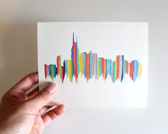 City Skyline Notecard-Nashville Stripes Silhouette blank inside