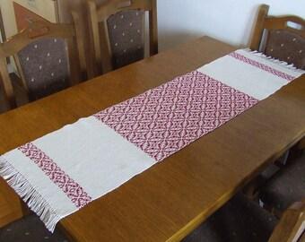 Hand woven table runner Christmas decor Christmas table runner woven cotton runner white red table decor Xmas decorations table linens stars