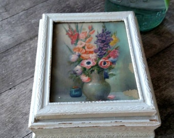 Vintage upcycled jewelry or trinket box with a mirror. FREE SHIPPING!!                                          Item # 87165
