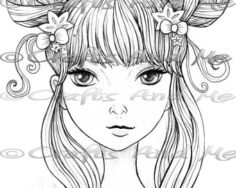 Digital Stamp - Instant Download - Morning Light - Fantasy Line Art for Cards & Crafts by Artist Jeremiah Ketner for Crafts and Me