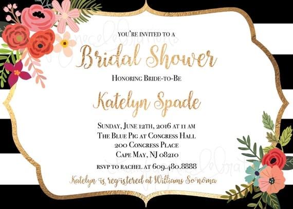 bridal shower invitation gold foil black amp white stripe