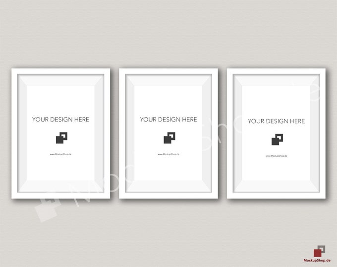 5x7 WHITE FRAME MOCKUP / Set of 3 / beige Wall Mockup / Frame Mockup /  White Photo Frame Mockup / Instand Download / FrameMockup
