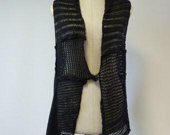 Transparent black linen vest, M size.