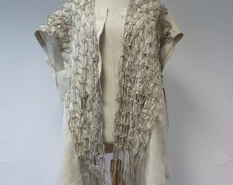 Sale, new price 70 EUR, original price 80 EUR. Gorgeous natural linen vest,  L size. Handmade, one-of-a-kind.