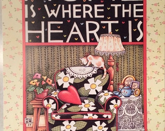 """Vintage MARY ENGELBREIT Poster - 18 x 24 """"Home Is Where The Heart Is"""" - 1984 Sunrise, Inc."""