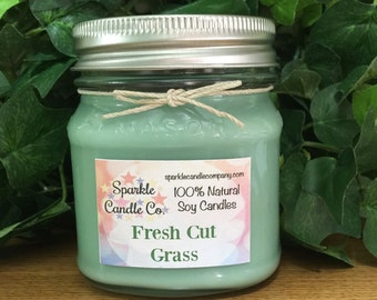 FRESH CUT GRASS Soy Candle - Scented Soy Candle - 8 oz. Mason Jar Candle