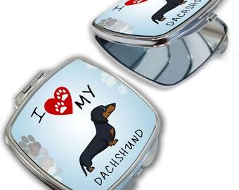 I Love My Dachshund Dog Lover Compact Mirror