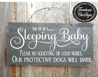 baby sleeping sign, baby shower gift, baby signs, do not ring doorbell, do not knock, protective dogs, 58/41