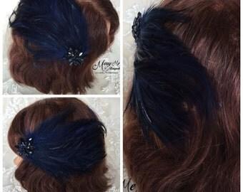 Navy Blue Feather Clip - Bridal Hair Clip - Navy Brooch Hair Clip - Navy Bridal Hair Clip - Navy Blue Bridal Clip - Feather Hair Clip