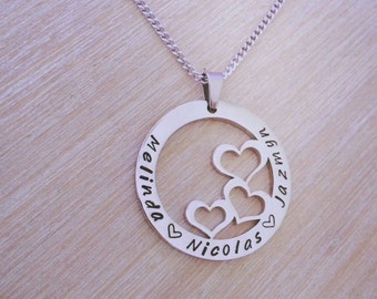 Personalised Name Necklace - Three Hearts. Any Names.