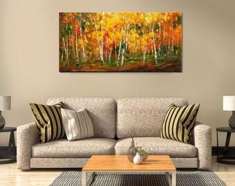 Oil Painting, Canvas Art, Framed Art, Original Art, Abstract Art, Impasto Texture Palette Knife Art, Canvas Painting, Landscape Painting