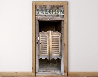 Door Mural Old Western Saloon Doors - Self Adhesive Fabric Door Wrap Wall Sticker & Saloon doors | Etsy Pezcame.Com