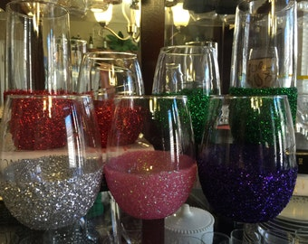Glitter Stemless Wine Glasses Any Color