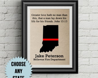 Firefighter Gift - Thin Red Line - Personalized Fireman Gift - Firefighter Wall Decor - Firefighter Wife