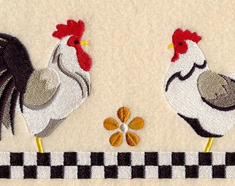 COUNTRY KITCHEN CHICKENS Scene Old Fashioned Look Machine Embroidered Quilt Square, Art Panel