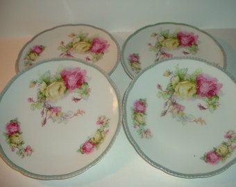 4 Prussia Beyer and Bock Porcelain with Roses Plates