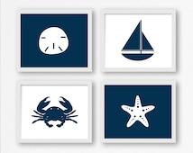 Nautical Prints in Navy Blue: Sailboat, Sand Dollar, Crab, and Starfish Printable Wall Art, Nautical Nursery, Kid's Room Decor, Beach
