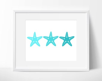 Aqua Starfish Print: Digital Printable Art for Beach Decor, Nautical Nursery