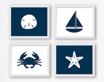 Nautical Digital Prints in Navy Blue: Sailboat, Sand Dollar, Crab, Starfish Printable Wall Art, Nautical Nursery, Kid's Room Decor, Beach