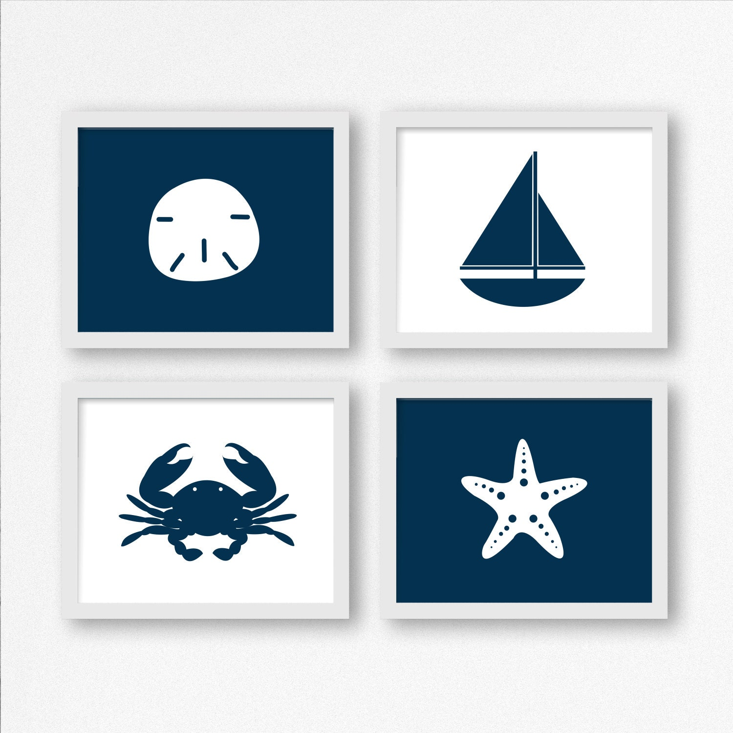 Nautical Digital Prints in Navy Blue: Sailboat Sand Dollar