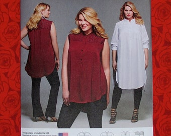 Simplicity Sewing Pattern 8140 Shirt Tunic, Mandarin Collar, Long Sleeve Sleeveless, Plus Sizes 18 20 22 24 W, Fashion Sportswear Top, UNCUT