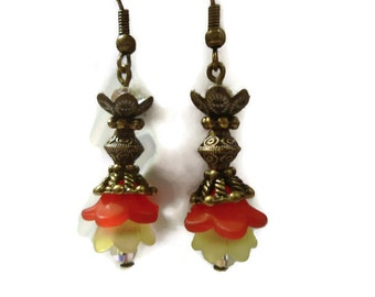 Red and Yellow Flower Beads on Antique Bronze Dangle Earrings 123