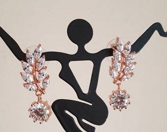 Wedding CZ Rose Gold Earrings /Bridal Earrings / Bridesmaid Gifts/Style ER-100